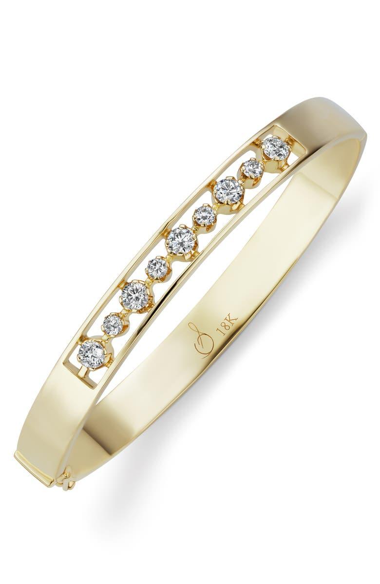 SORELLINA Otto Diamond Hinge Bangle Bracelet, Main, color, YELLOW GOLD