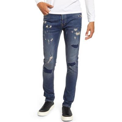 Topman Rip & Repair Skinny Jeans, Blue