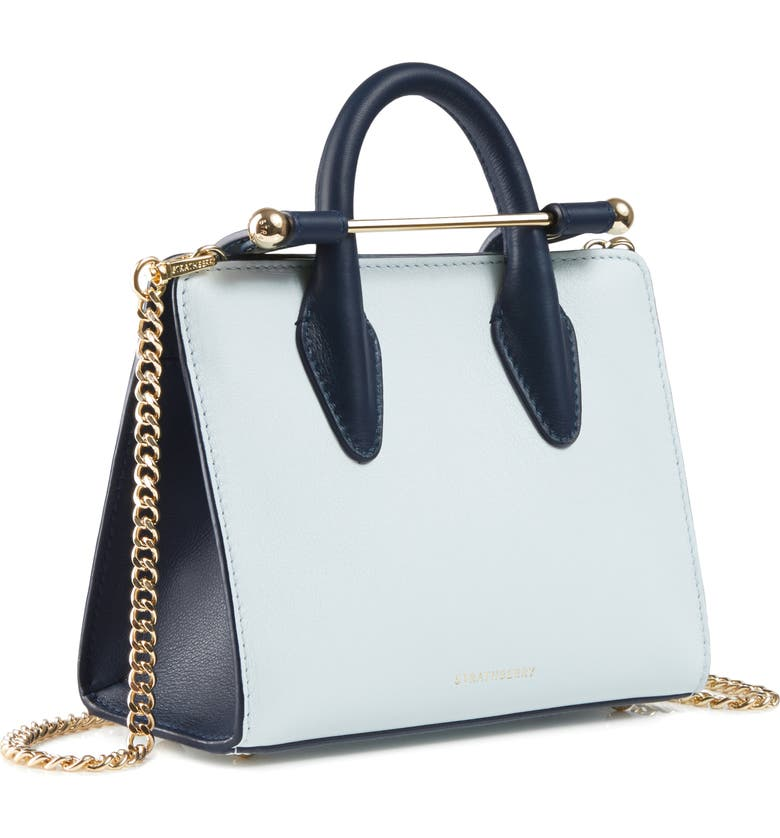 STRATHBERRY Nano Bicolor Leather Tote, Main, color, ILLUSION BLUE/ NAVY