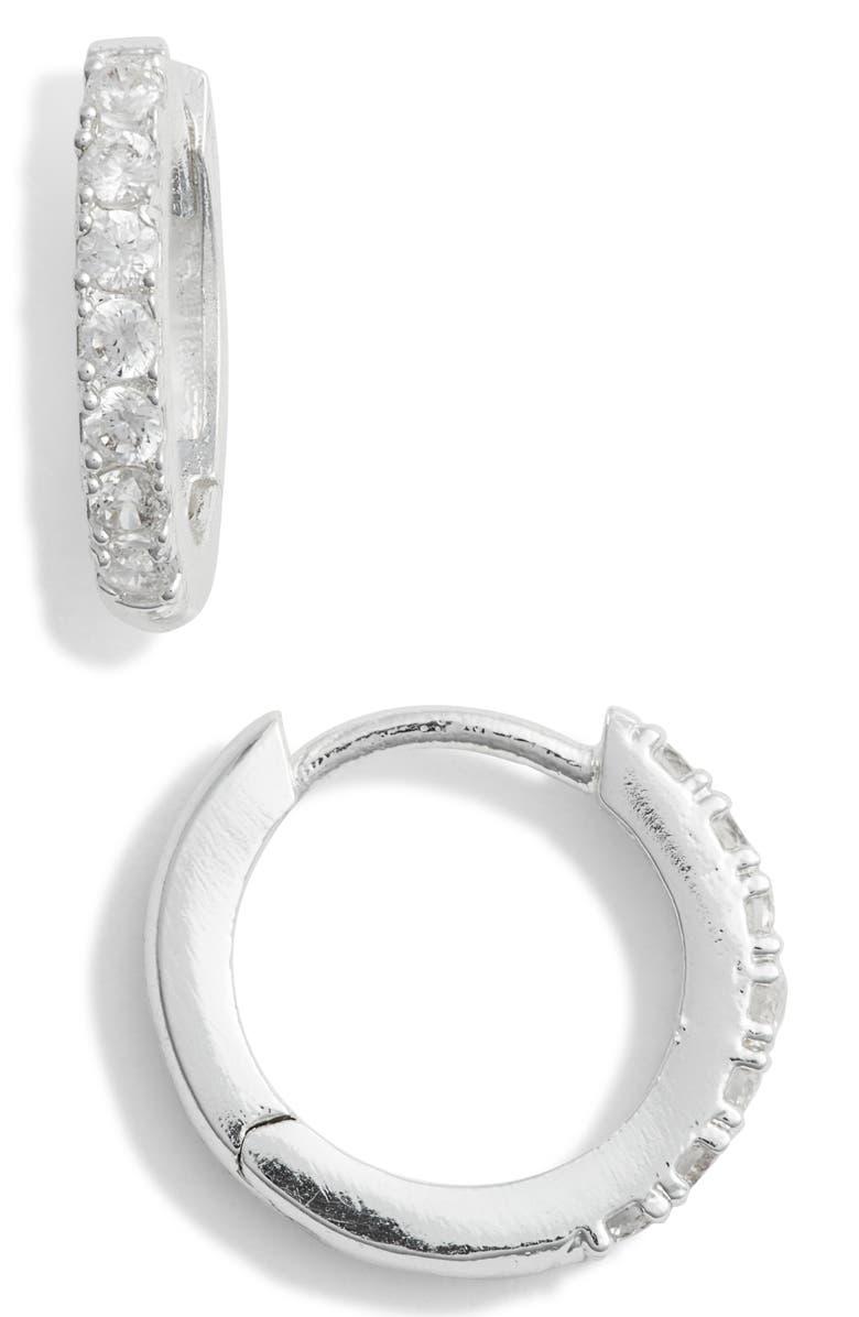 ESTELLA BARTLETT Crystal Pavé Huggie Hoop Earrings, Main, color, SILVER