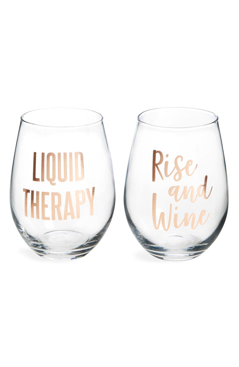 SLANT COLLECTIONS Set of 2 Stemless Wine Glasses, Main, color, 100