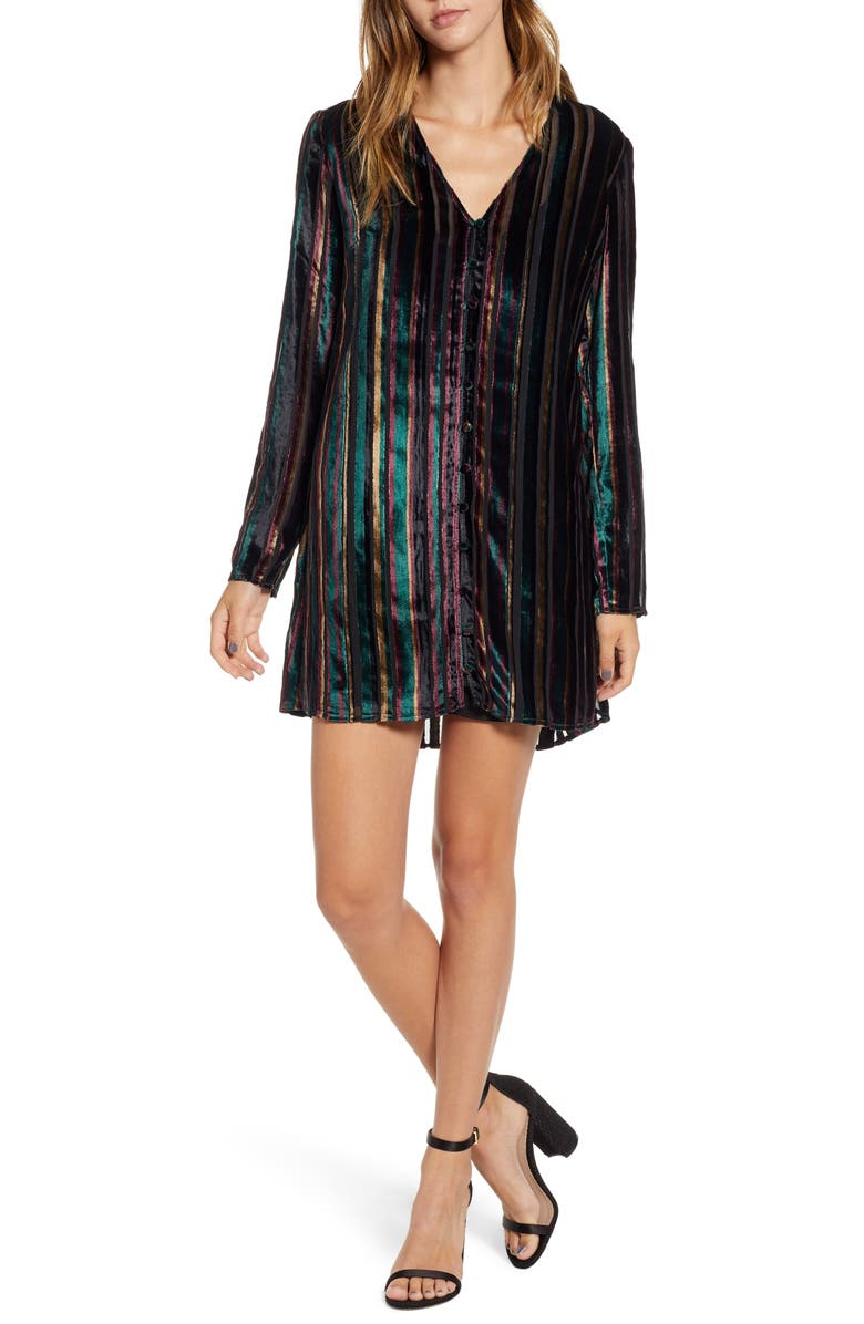 LEITH Long Sleeve Button Front Dress, Main, color, 001