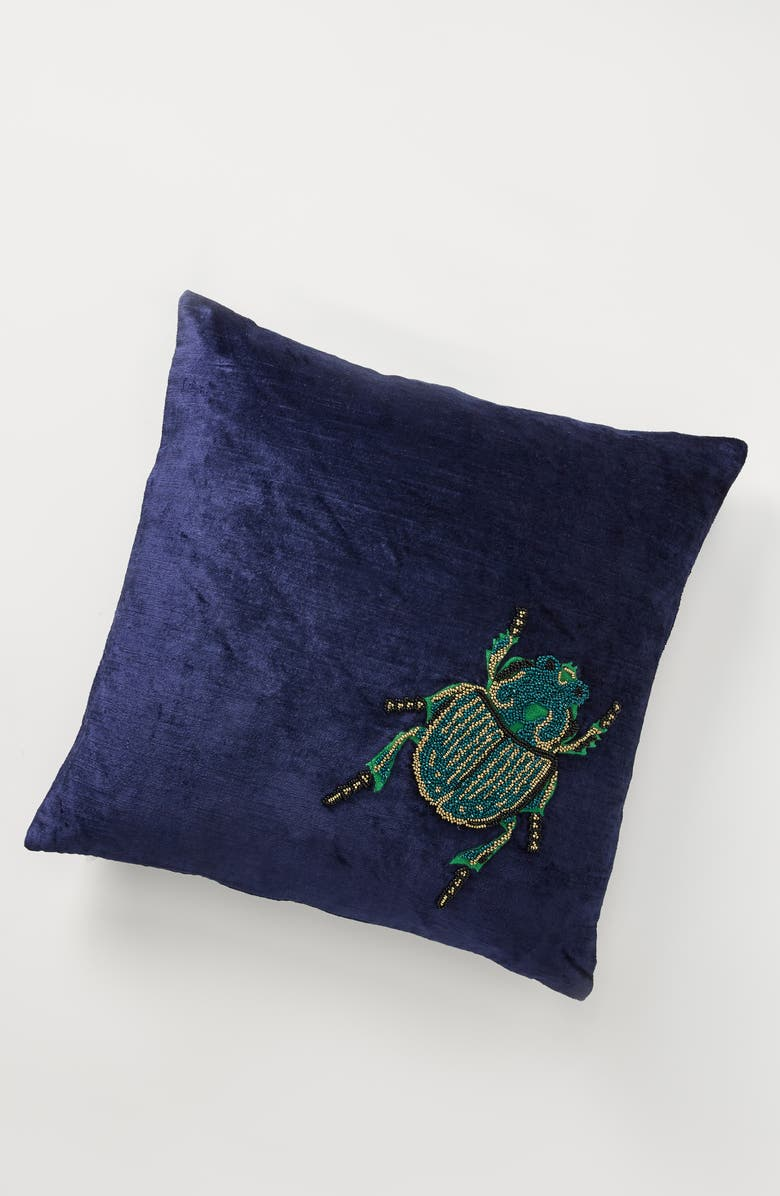 ANTHROPOLOGIE Isadora Accent Pillow, Main, color, BEETLE