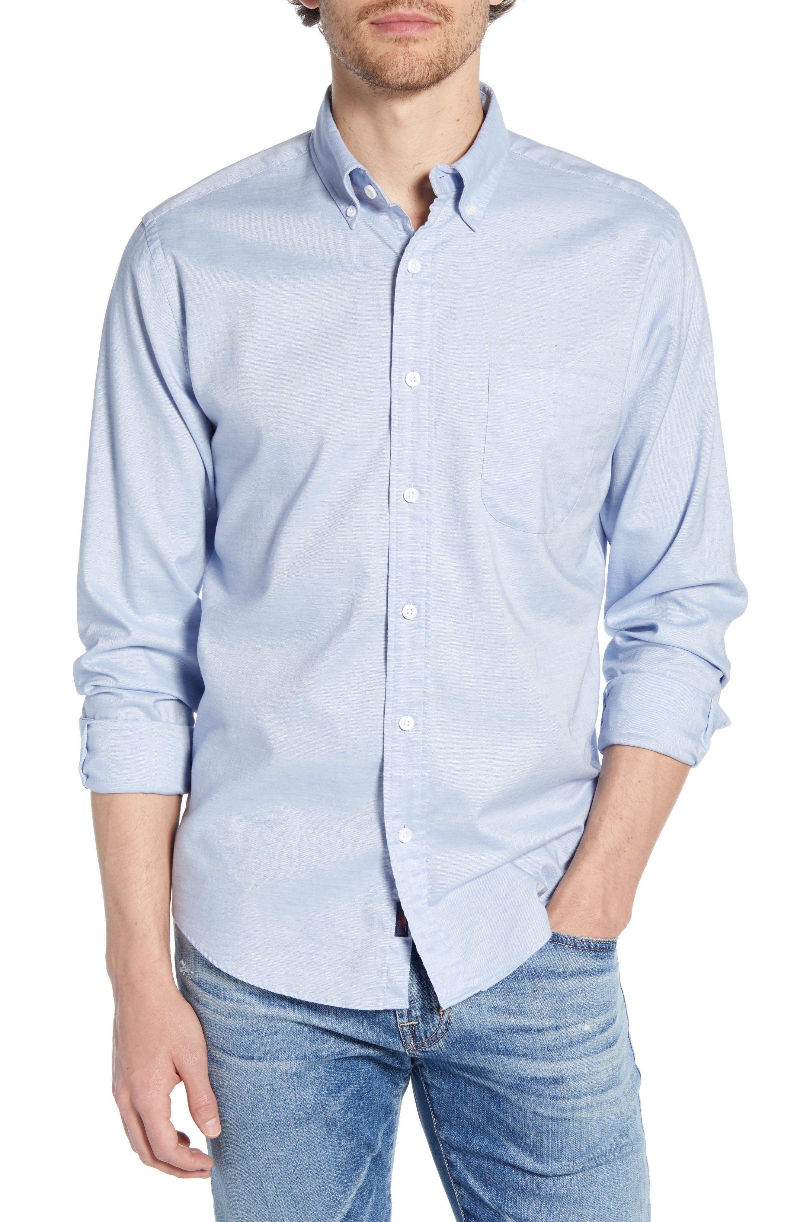 Faherty Regular Fit Stretch Oxford Shirt, Blue