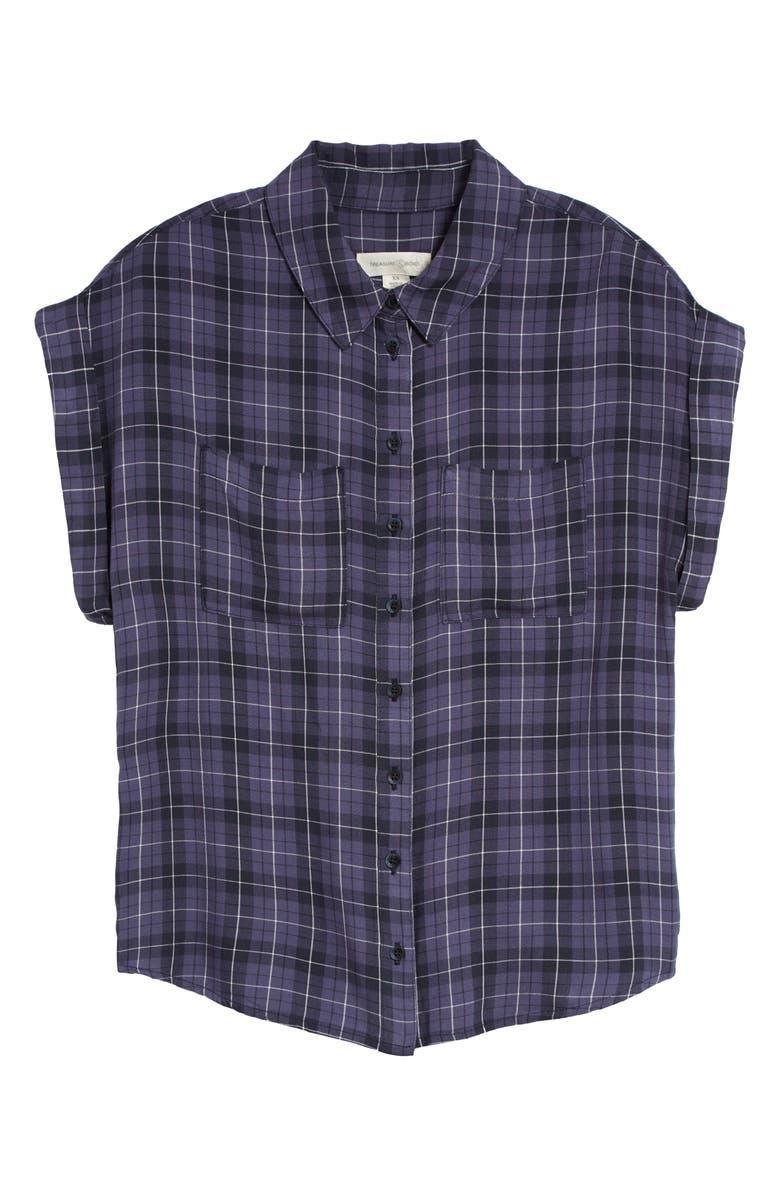 TREASURE & BOND Short Sleeve Plaid Shirt, Main, color, NAVY BLUE TABORA PLAID