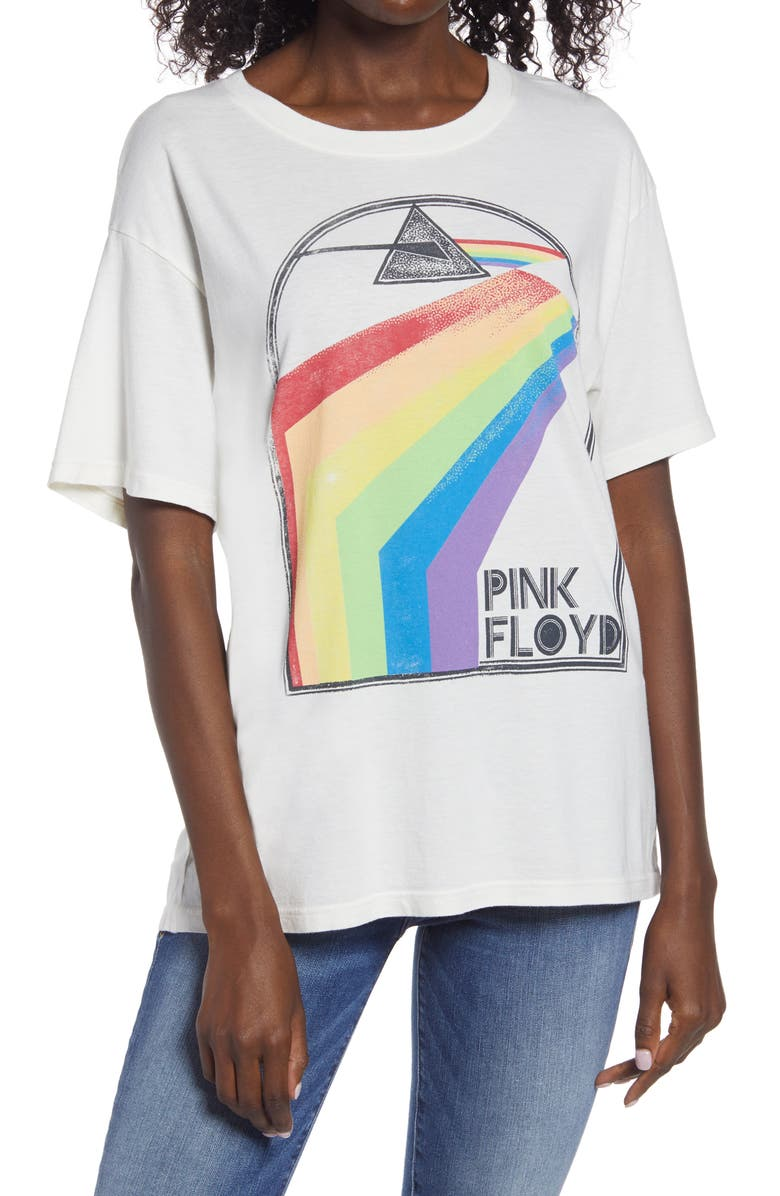 DAYDREAMER Pink Floyd Retro Rainbow Boyfriend Graphic Tee, Main, color, STONE VINTAGE