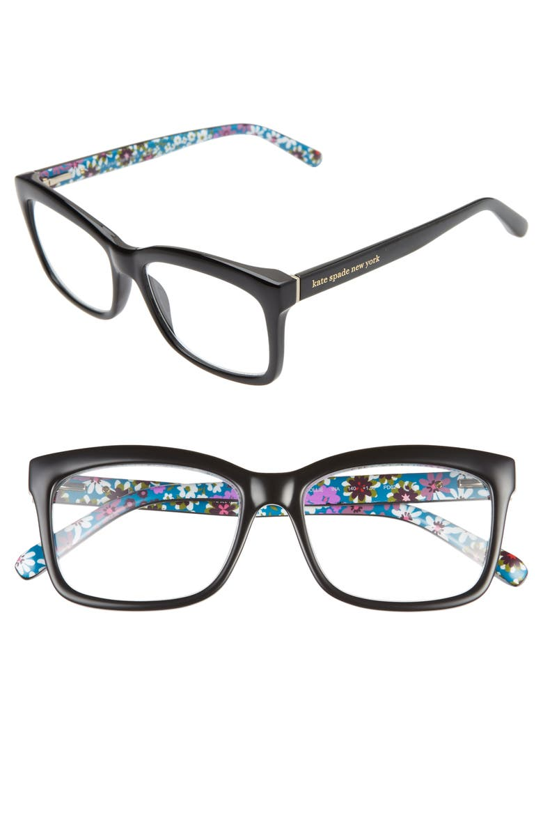 KATE SPADE NEW YORK dollie 53mm reading glasses, Main, color, BLACK/ BLUE PRINT