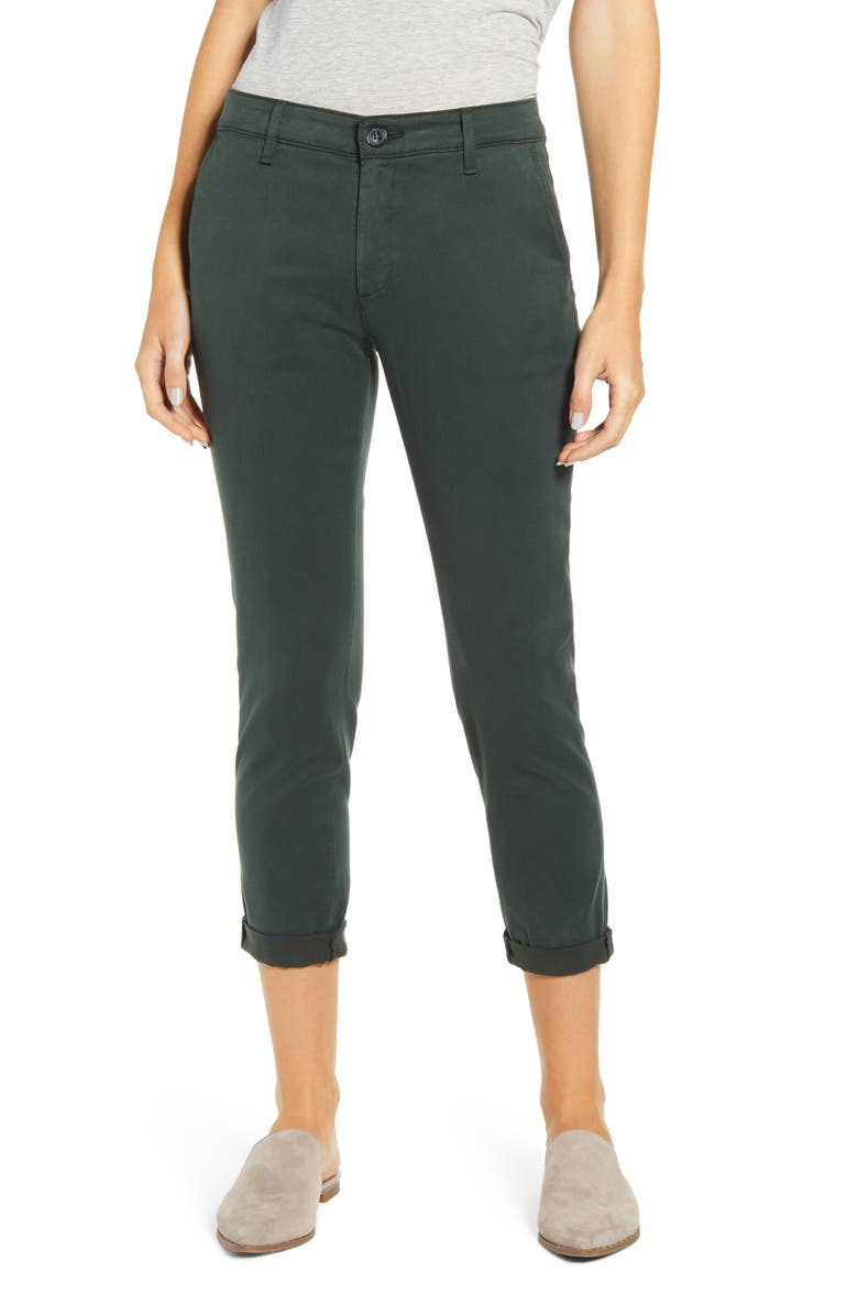 AG Caden Crop Twill Trousers, Main, color, PINE NEEDLE