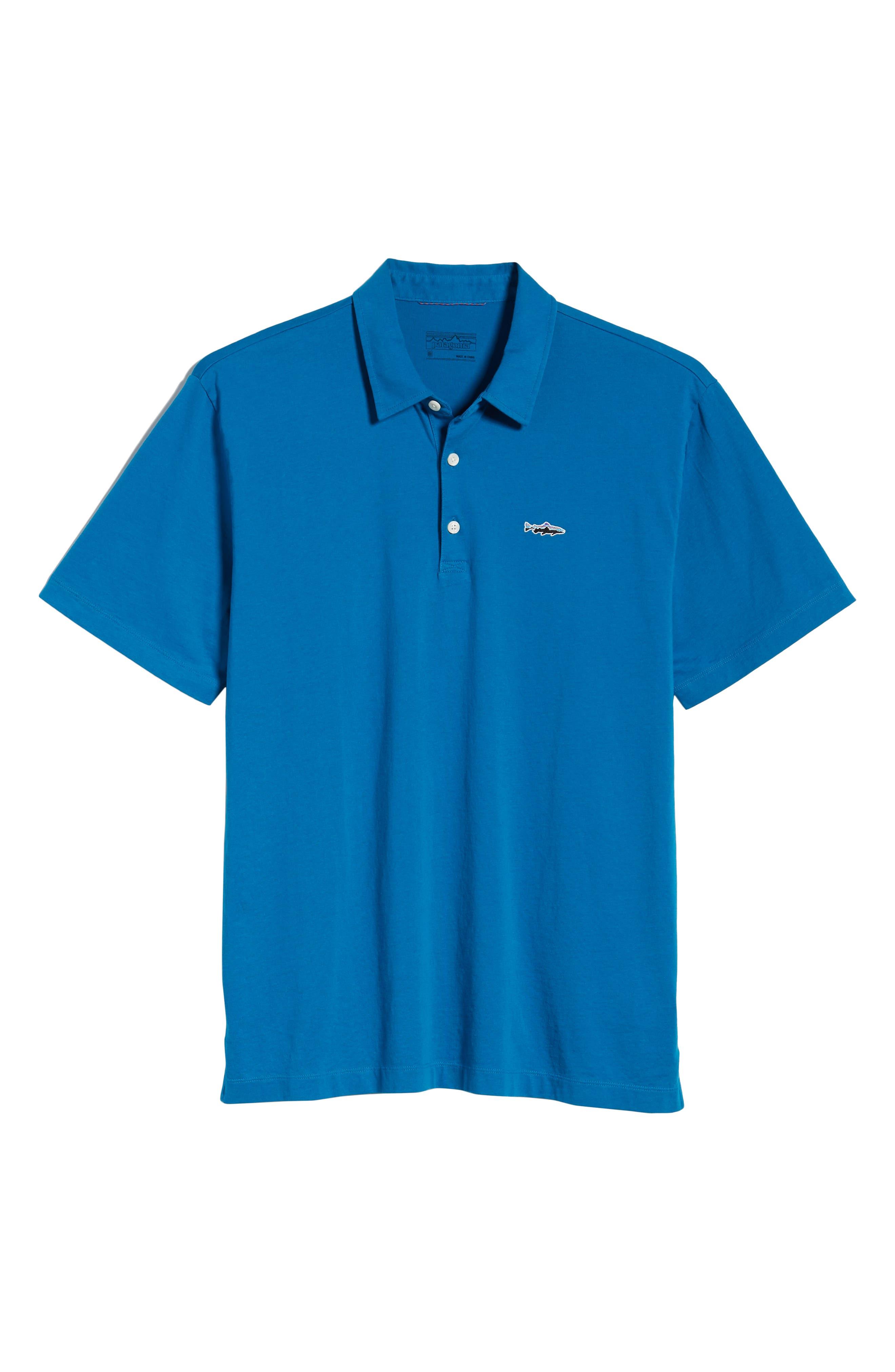 ,                             Trout Fitz Roy Regular Fit Organic Cotton Polo,                             Alternate thumbnail 6, color,                             BALKAN BLUE