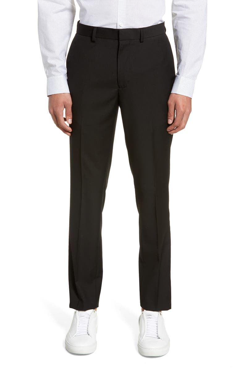 TOPMAN Black Skinny Fit Dress Pants, Main, color, BLACK