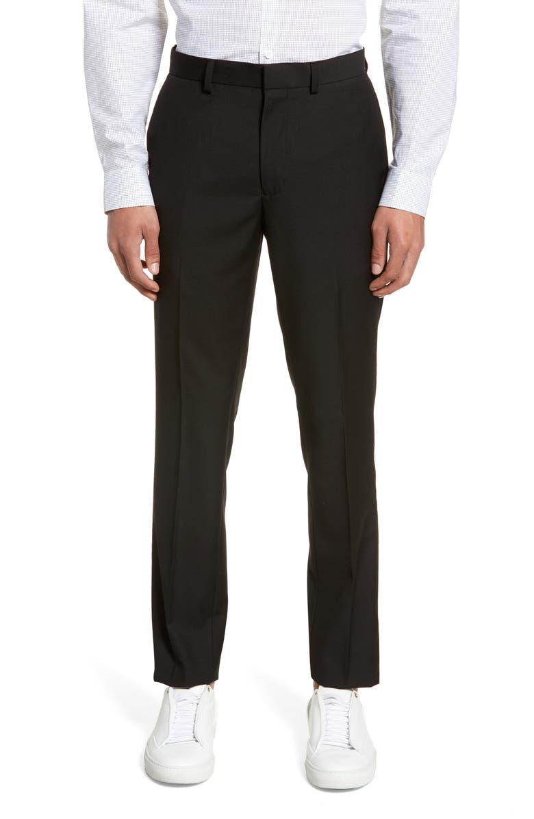 TOPMAN Black Skinny Fit Dress Pants, Main, color, BLACK