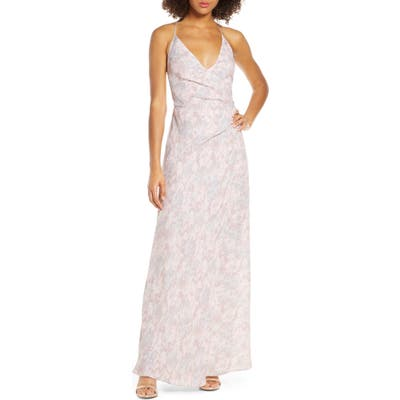 Wayf The Allison Faux Wrap Gown, Pink