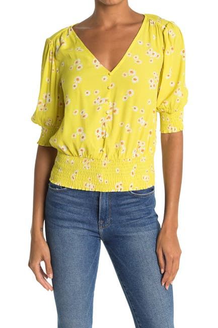 Image of Lush Button Down Smocked Top