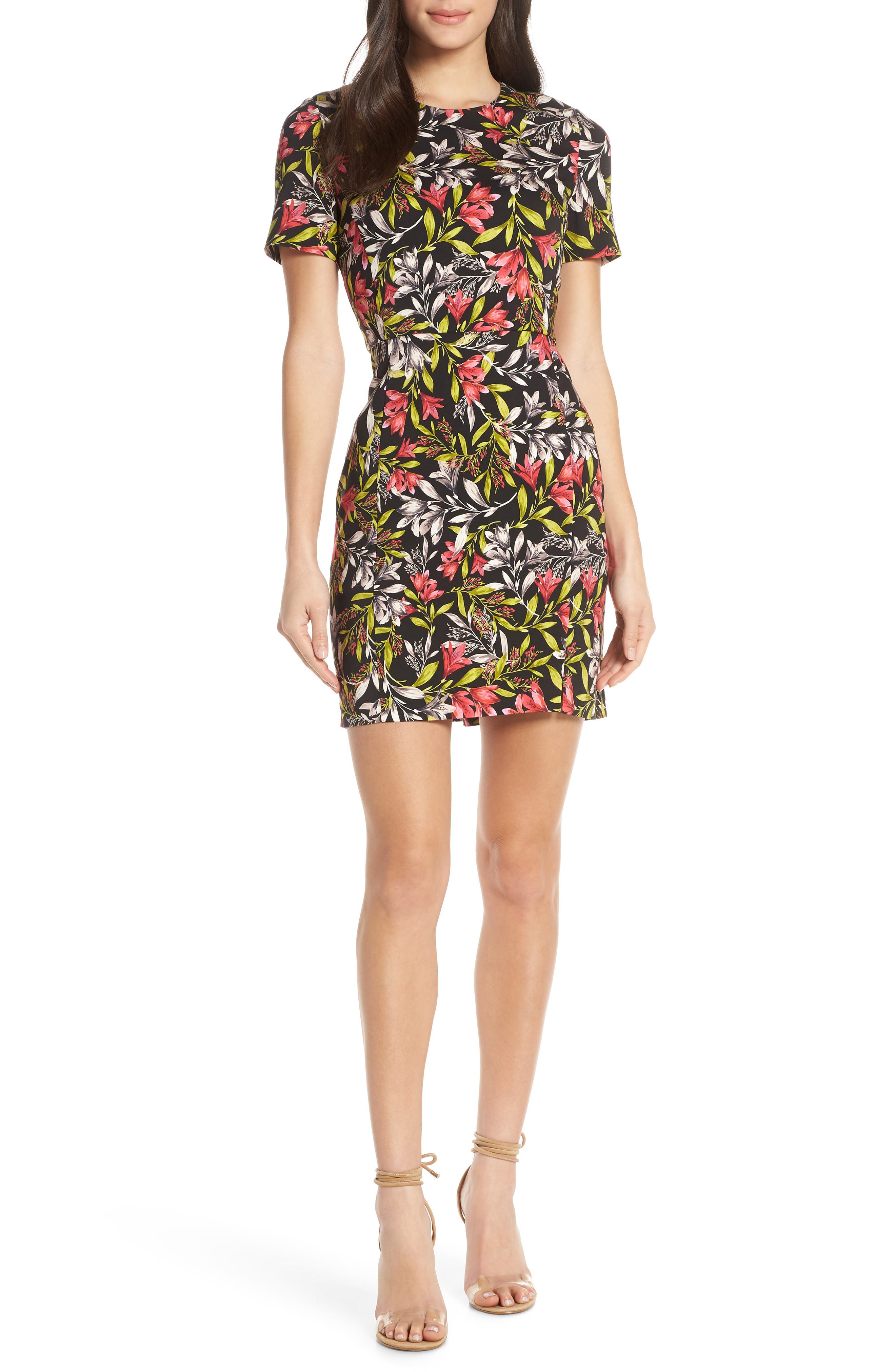 French Connection Cadencia Floral Minidress, Black