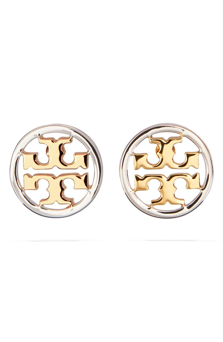TORY BURCH Circle Logo Stud Earrings, Main, color, TORY GOLD/ SILVER