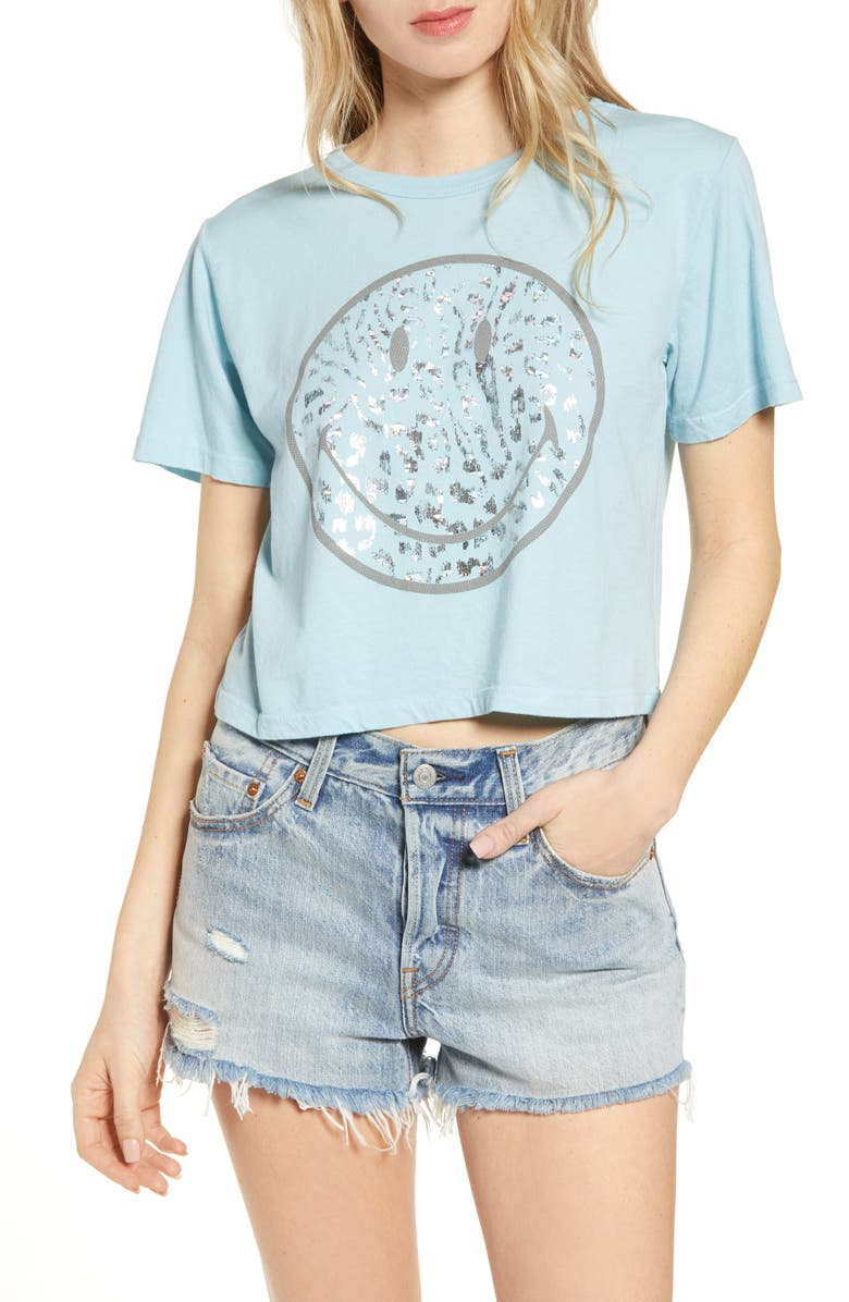 DAY BY DAYDREAMER Cheetah Foil Smiley Graphic Crop Tee, Main, color, 400