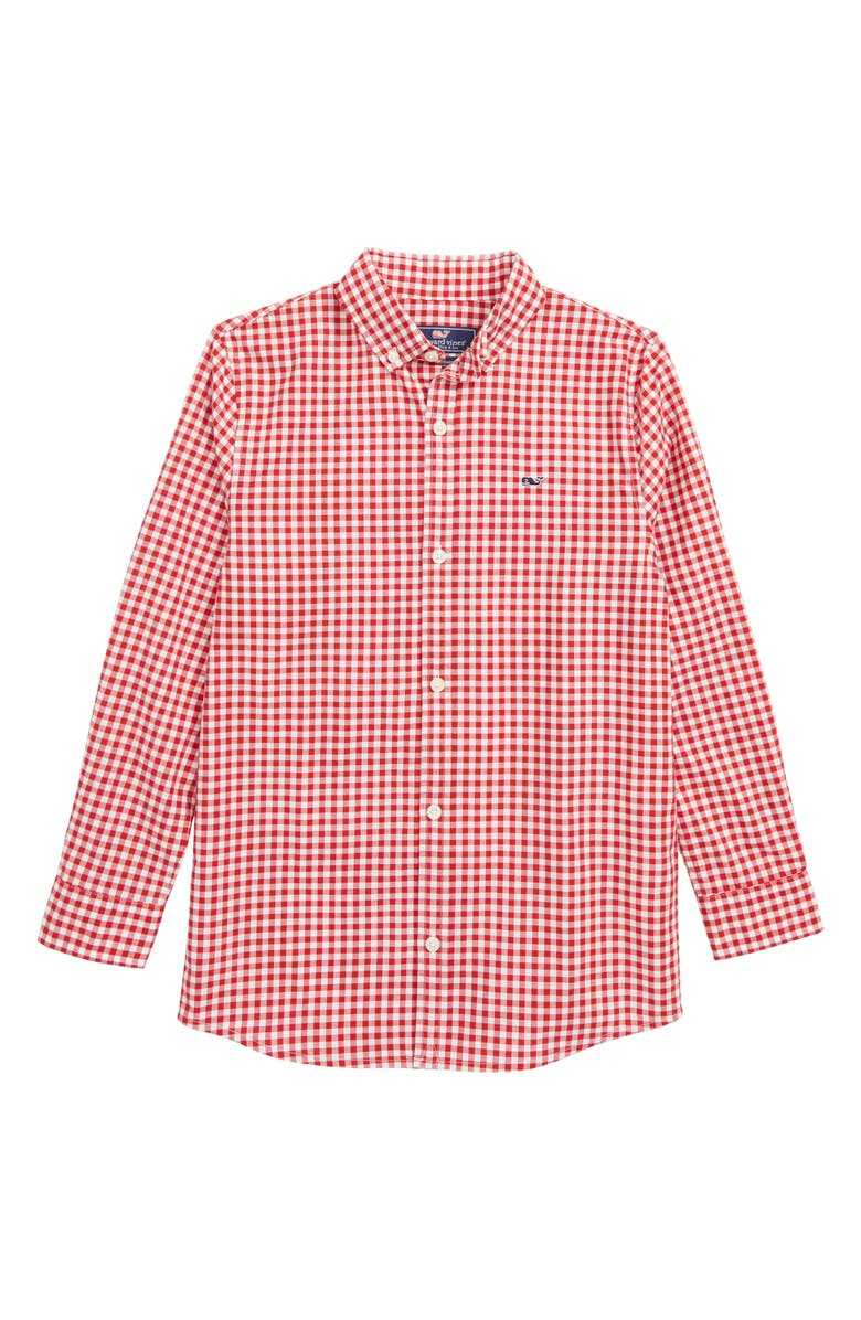 VINEYARD VINES Rockridge Poplin Whale Shirt, Main, color, CALYPSO RED