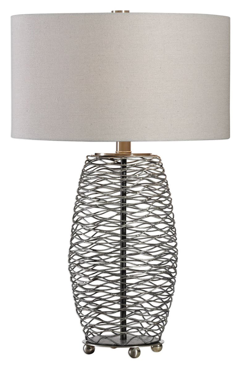 UTTERMOST Sinuous Wavy Steel Mesh Lamp, Main, color, BRUSHED NICKEL
