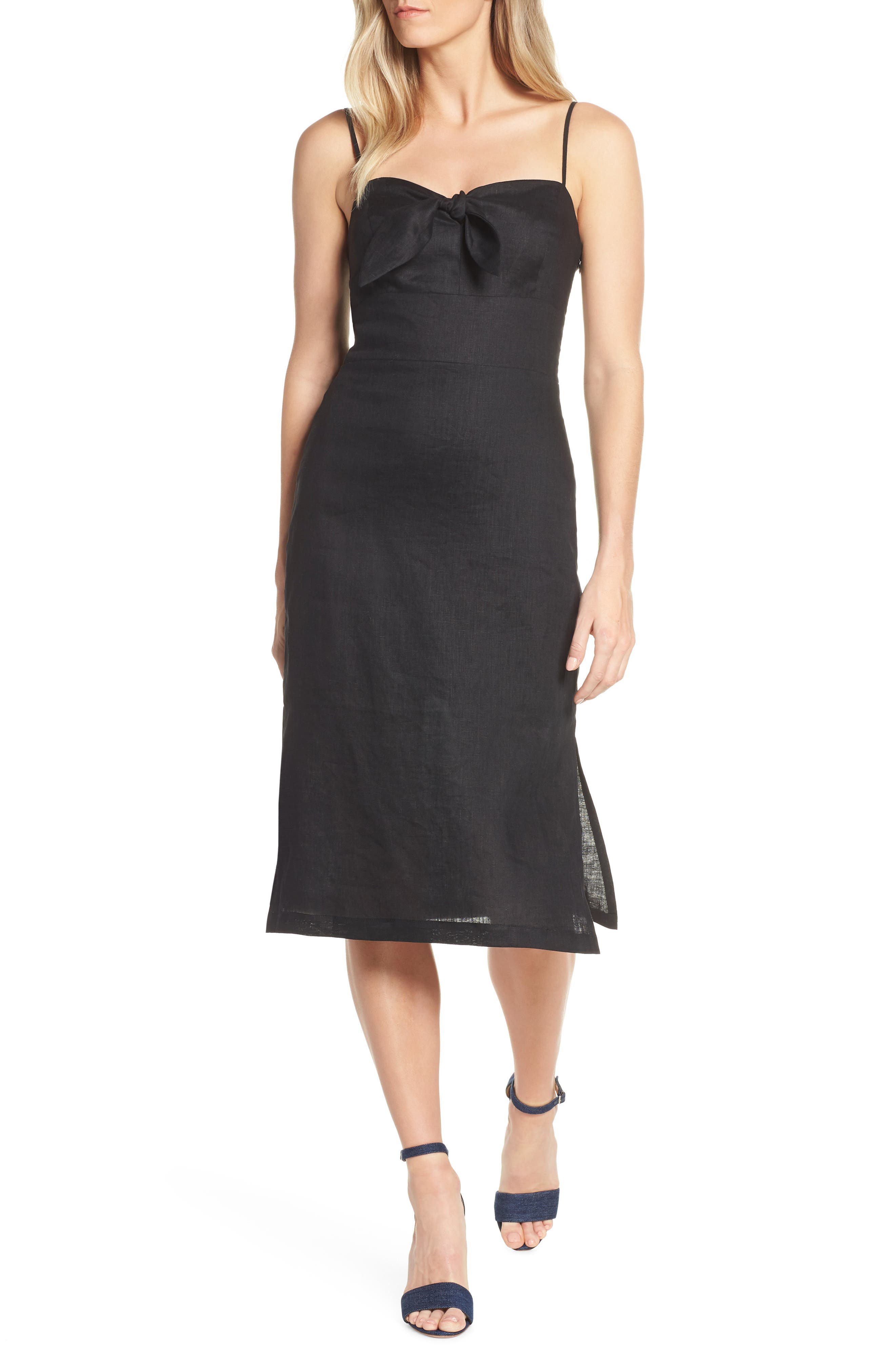 Forest Lily Bow Linen A-Line Dress, Black