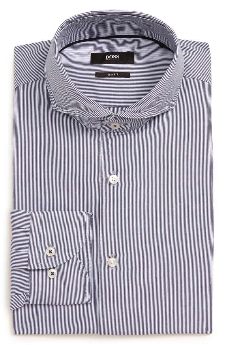 BOSS Jemerson Slim Fit Stripe Dress Shirt, Main, color, 410