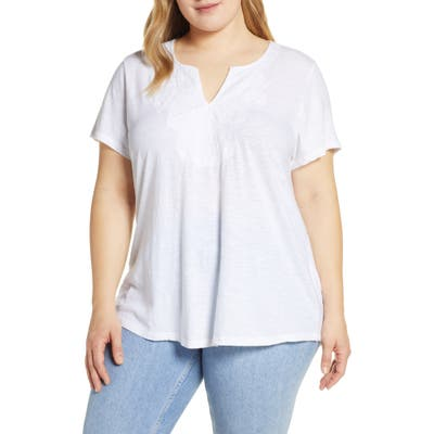 Plus Size Lucky Brand Embroidered Notch Neck Tee, White