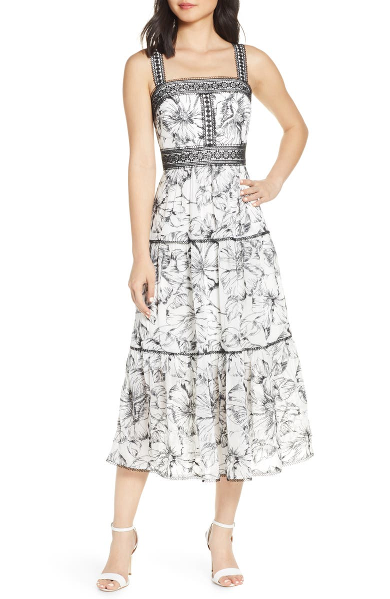 EVER NEW Floral Lace Trim Tiered Midi Dress, Main, color, PORCELAIN/ BLACK