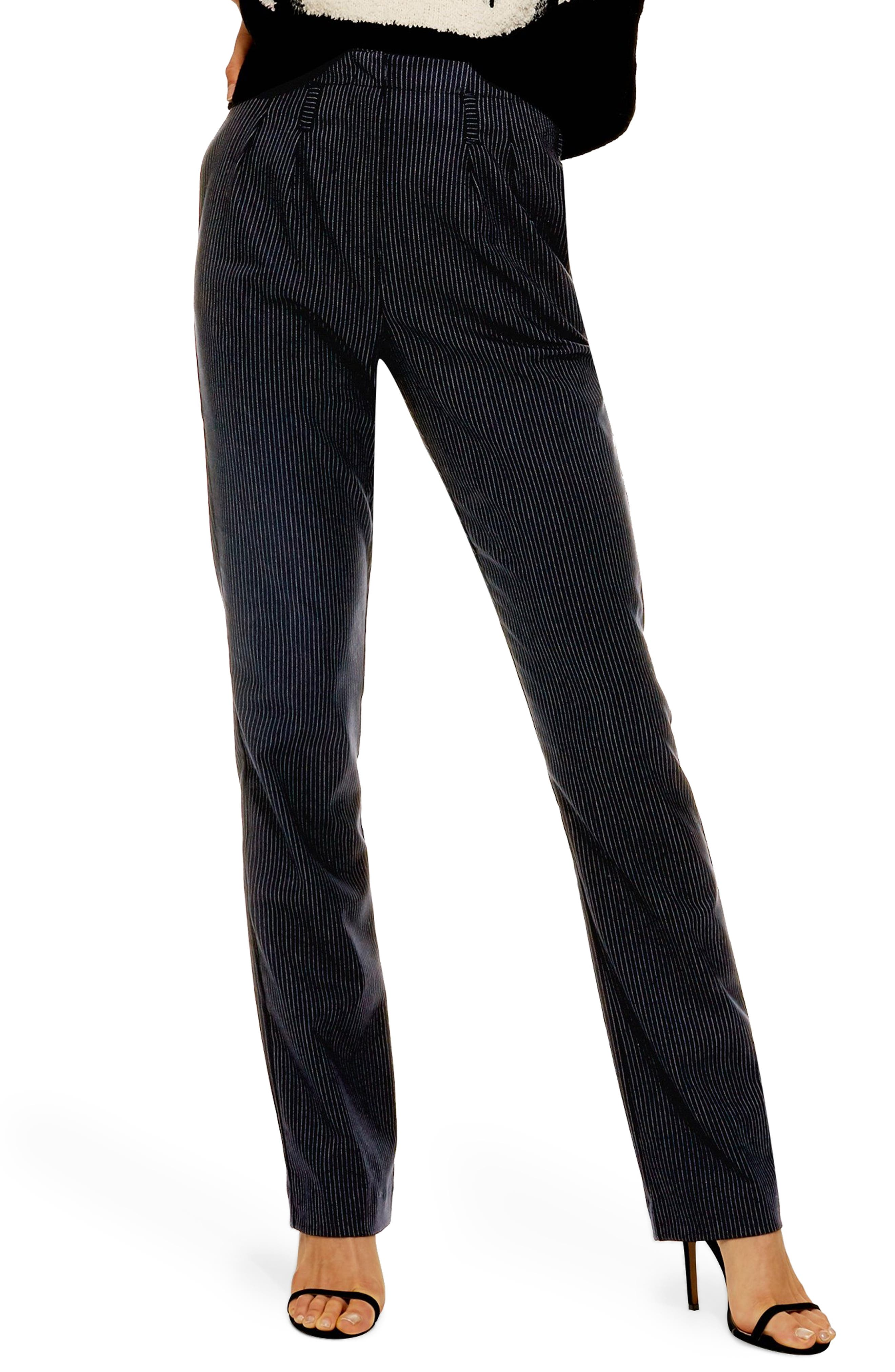 ,                             Pinstripe Trousers,                             Main thumbnail 1, color,                             NAVY BLUE