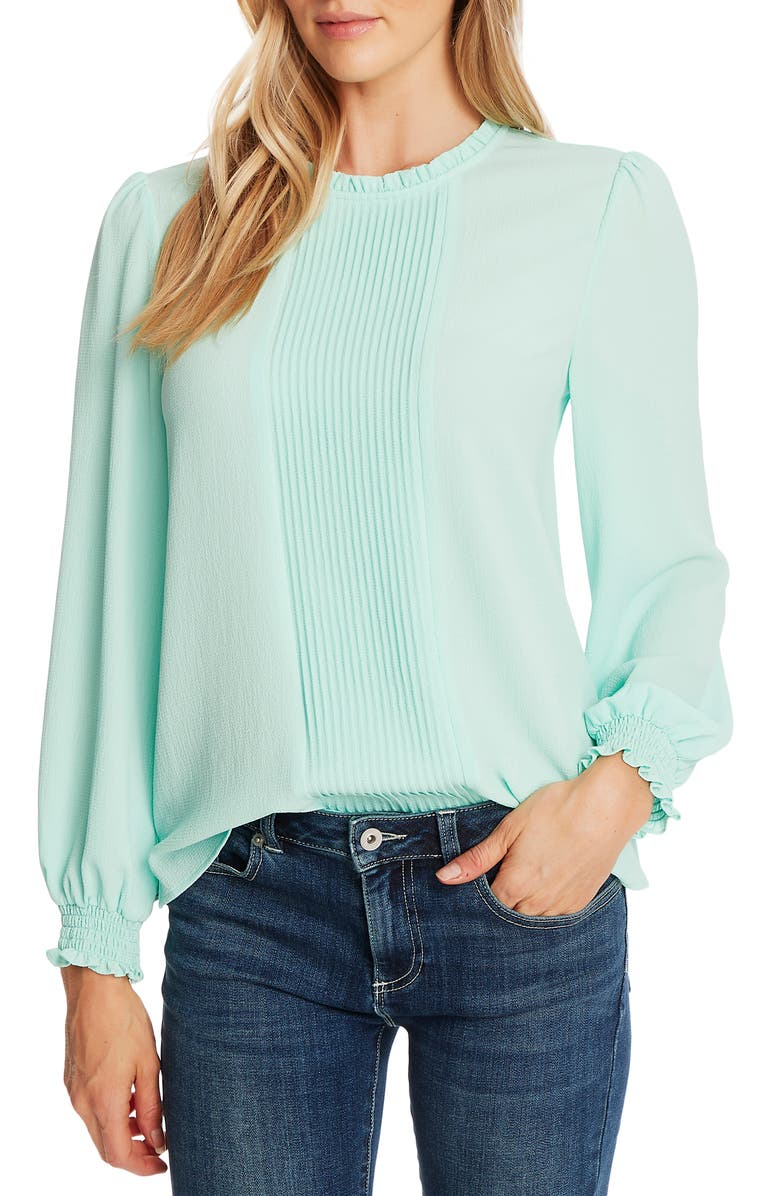 CECE Pintucked Smock Cuff Chiffon Top, Main, color, SPEARMINTICE