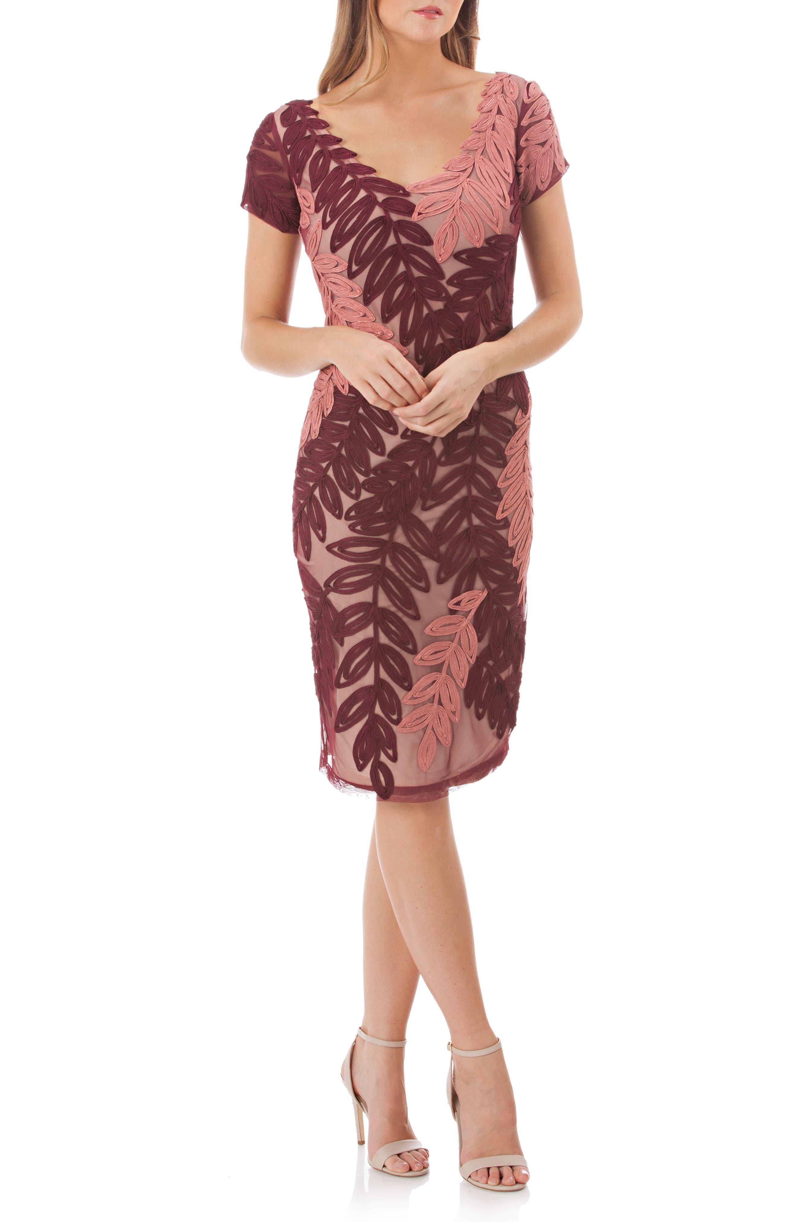 Js Collections Leaf Soutache V-Neck Sheath Dress