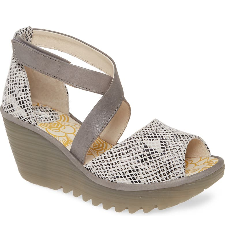 FLY LONDON Yosi Wedge Sandal, Main, color, WHITE SNAKE PRINT LEATHER