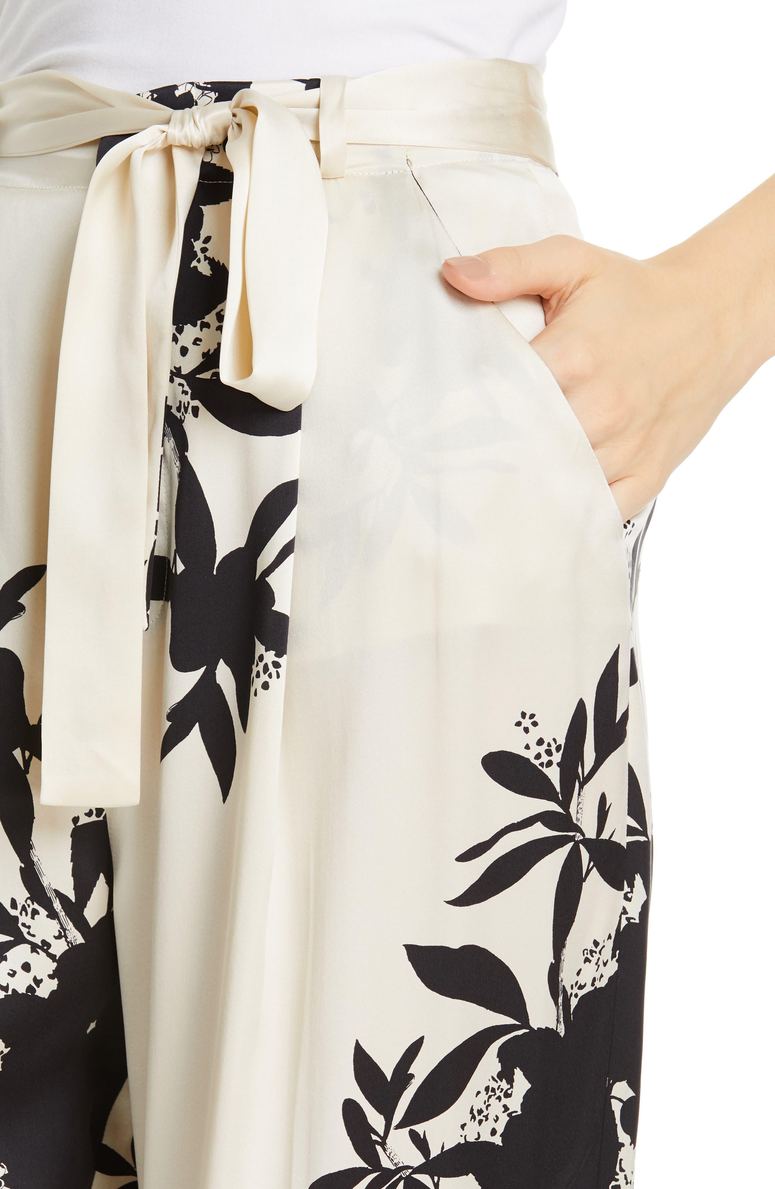 ,                             Evonne Tie Waist Silk Blend Pants,                             Alternate thumbnail 5, color,                             ECRU TRUE
