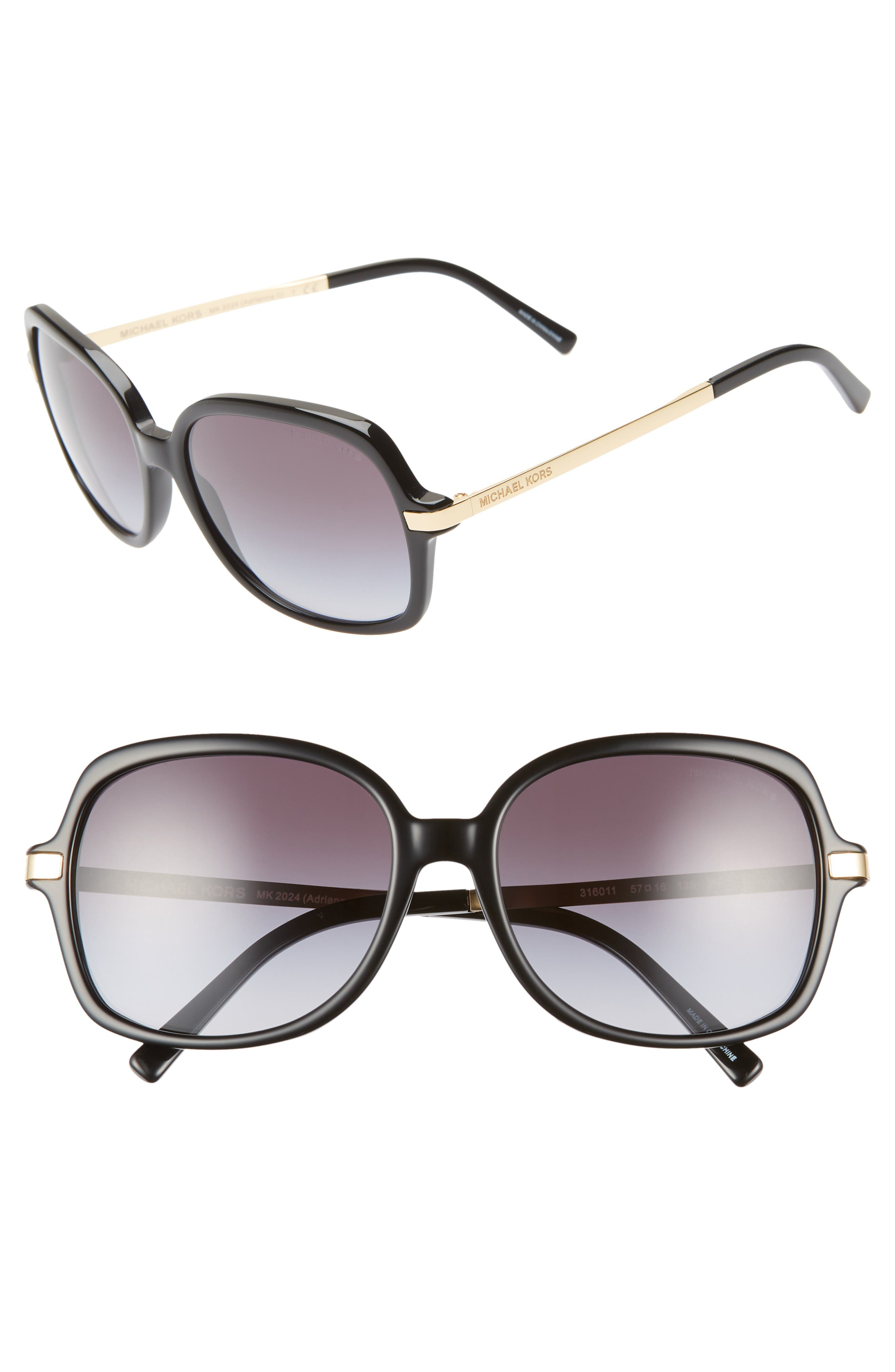 57mm Gradient Square Sunglasses, Main, color, 001