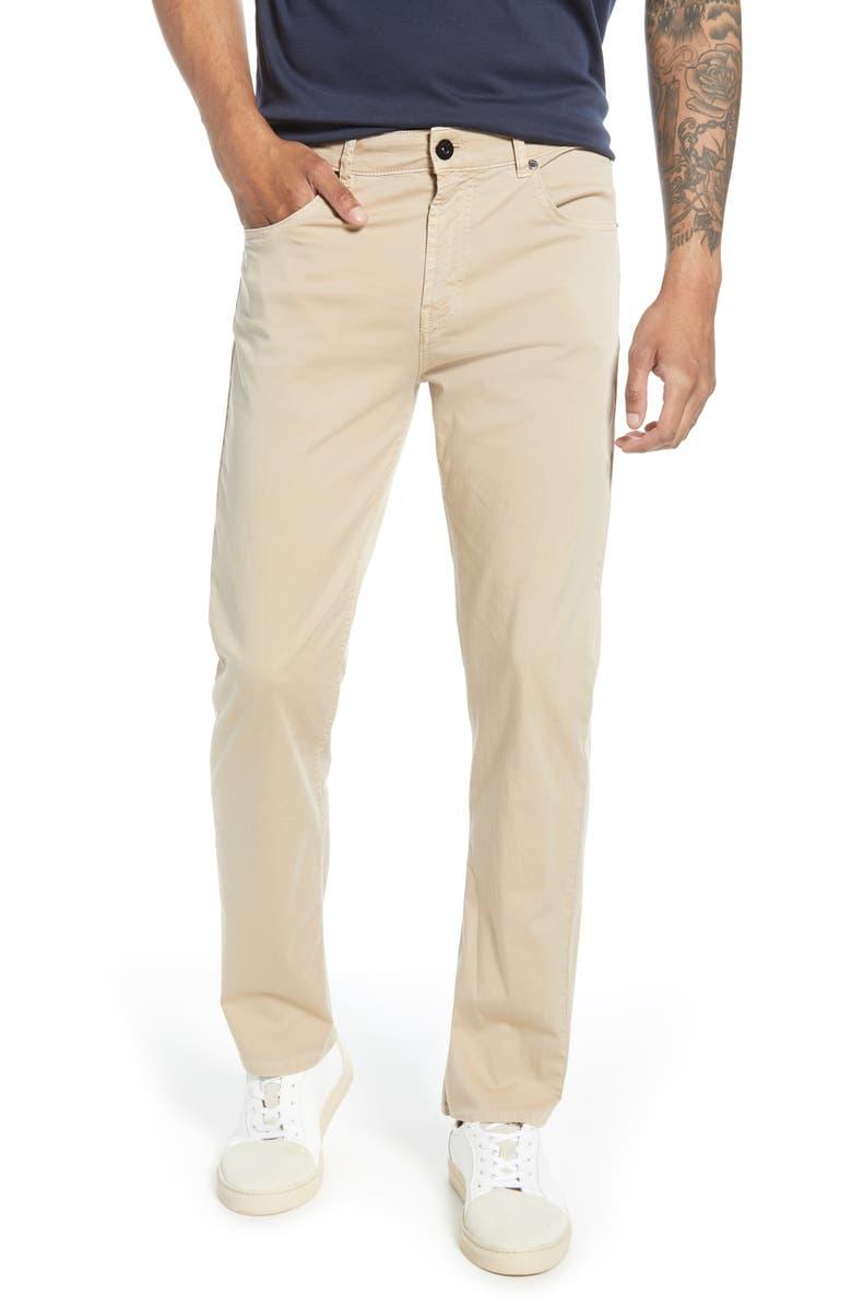BUGATCHI Five-Pocket Slim Straight Leg Pants, Main, color, SAND