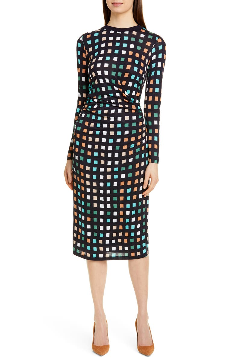 BOSS Esetta Cube Print Long Sleeve Midi Dress, Main, color, DARK NAVY CUBE PRINT