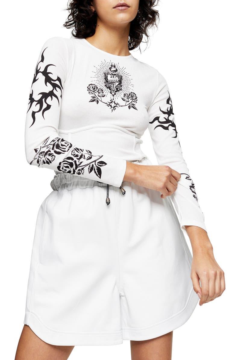 TOPSHOP IDOL Tattoo Print Long Sleeve Mesh Top, Main, color, 100