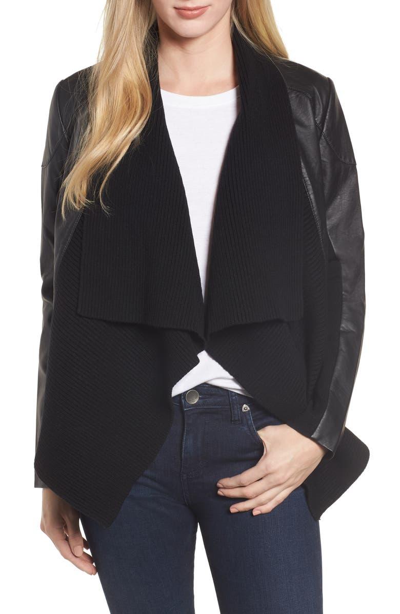 CASLON<SUP>®</SUP> Ribbed Drape Front Faux Leather Jacket, Main, color, BLACK