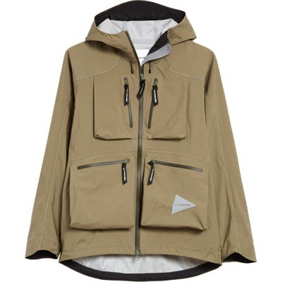 And Wander Event Dropping Pocket Rain Jacket, Beige