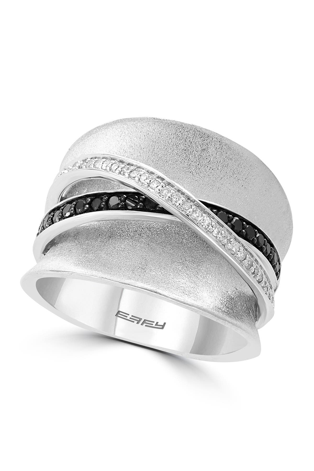 Image of Effy Sterling Silver Crisscross Pave Black & White Diamond Band Ring - Size 7 - 0.46 ctw