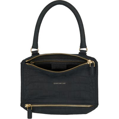 Givenchy Small Pandora Croc Embossed Leather Shoulder Bag - Black