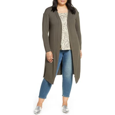 Plus Size Dantelle Long Cardigan, Green