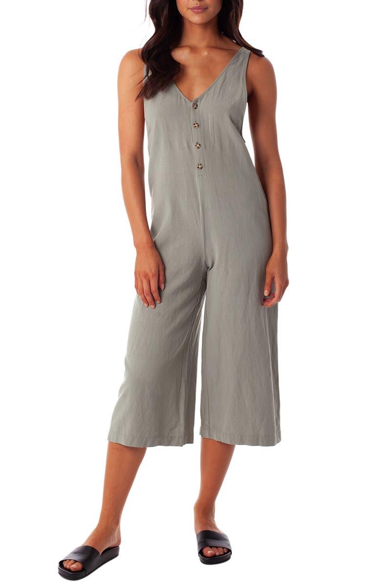 RHYTHM Leblon Crop Cover-Up Jumpsuit, Main, color, 100