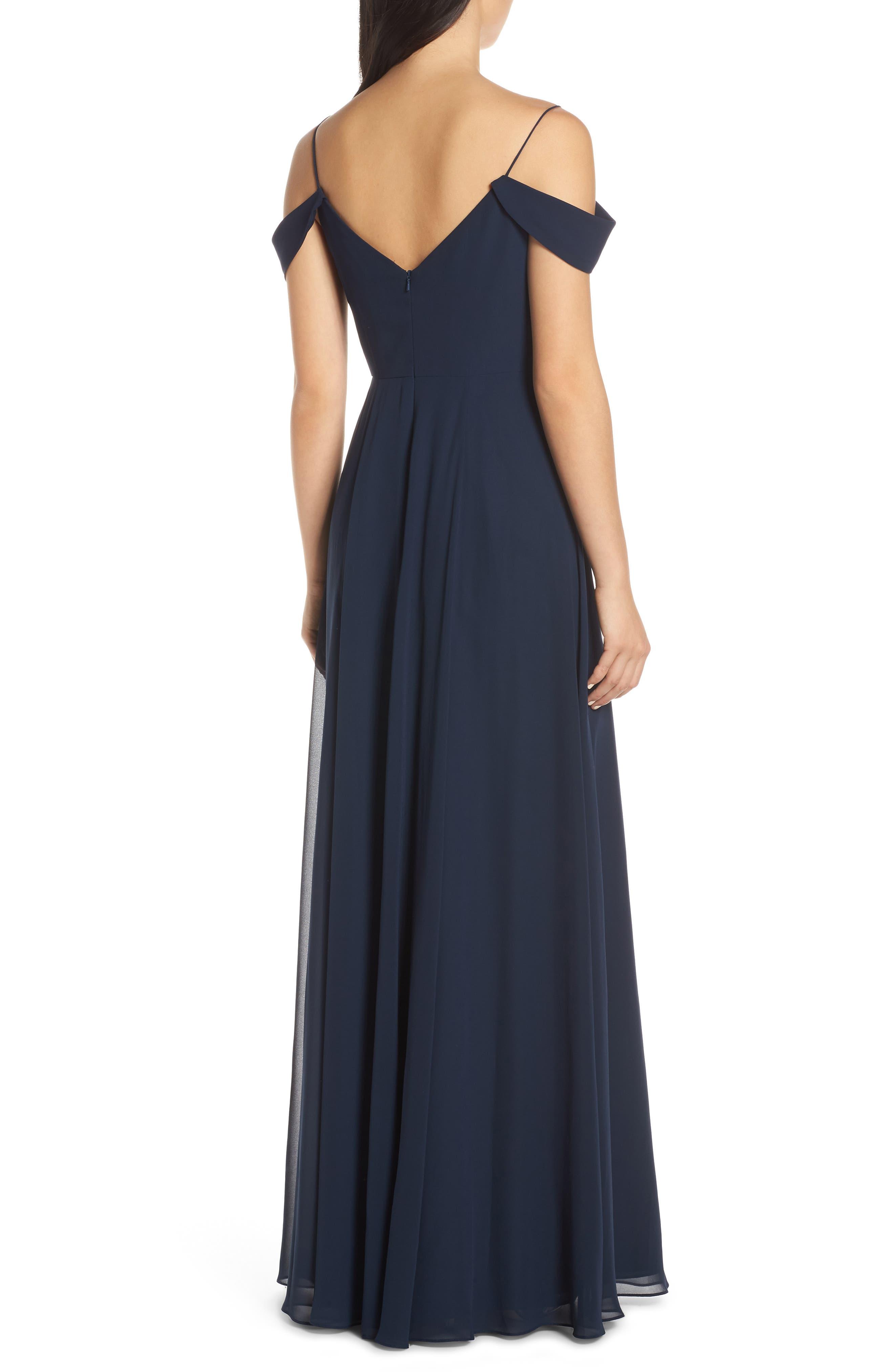 ,                             Priya Cold Shoulder Chiffon Evening Dress,                             Alternate thumbnail 2, color,                             NAVY