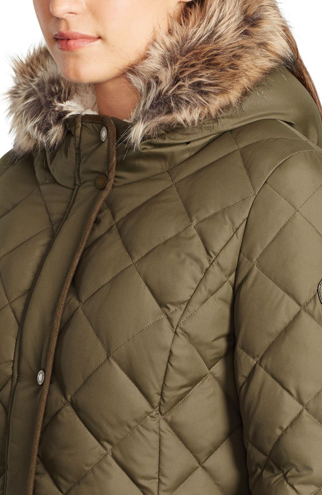 ,                             Faux Fur Trim Down & Feather FillParka,                             Alternate thumbnail 9, color,                             308