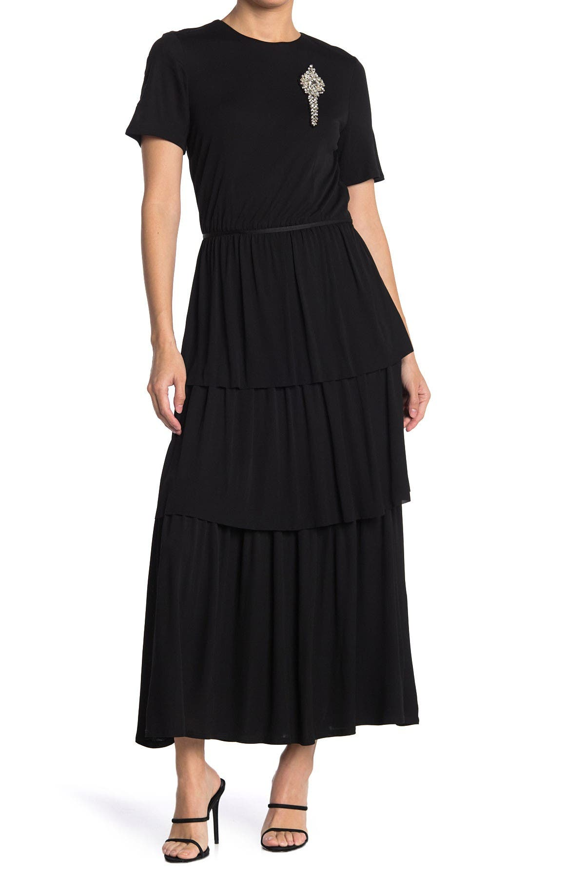 Image of Burberry Tiered Skirt Dress