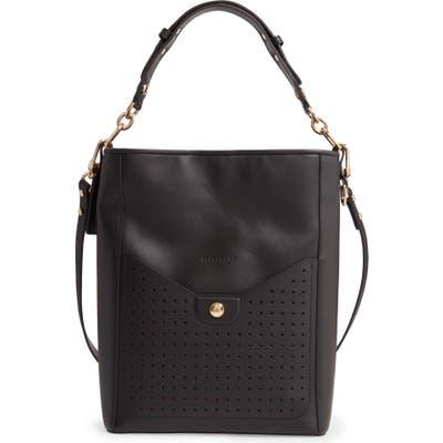 Longchamp Mademoiselle Perforated Calfskin Leather Bucket Bag - Black