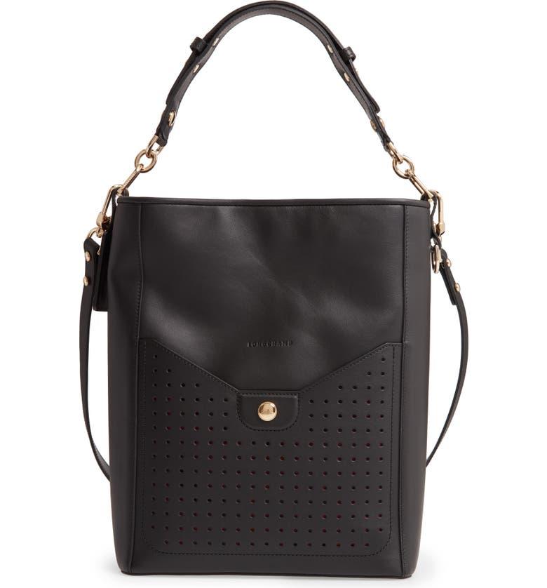 LONGCHAMP Mademoiselle Perforated Calfskin Leather Bucket Bag, Main, color, BLACK