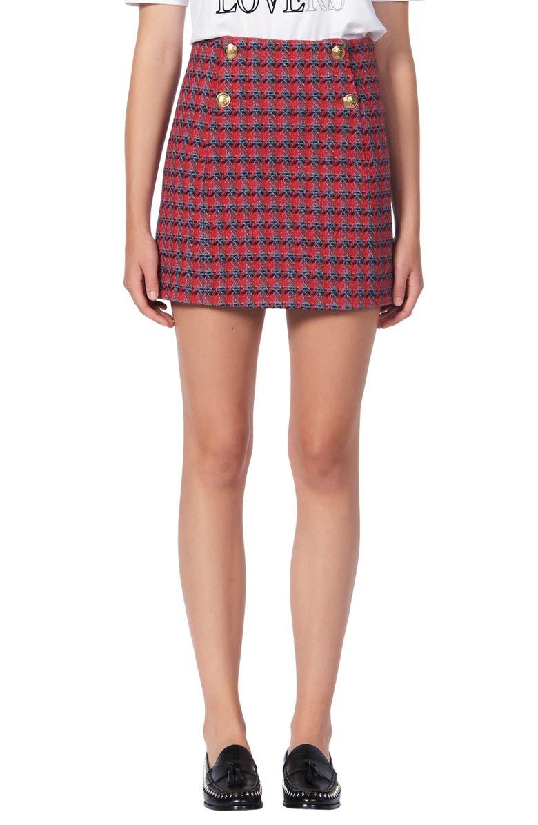 SANDRO Efira Tweed Wool & Cotton Blend Miniskirt, Main, color, RED
