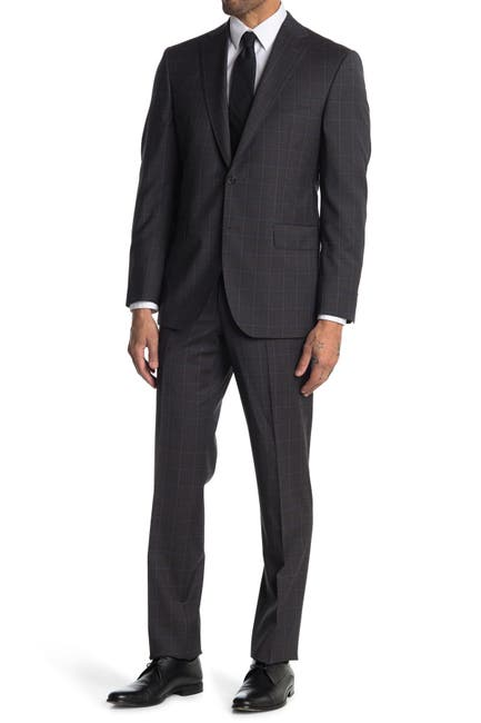 Image of David Donahue Ryan Tonal Plaid Classic Fit 2-Piece Suit Set
