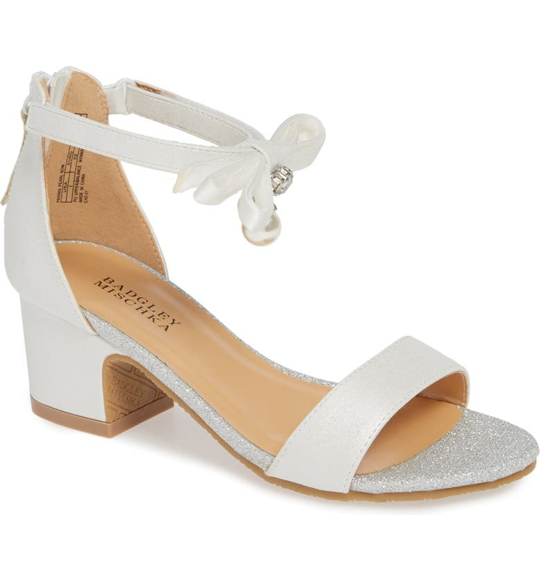 BADGLEY MISCHKA COLLECTION Badgley Mischka Pernia Embellished Bow Sandal, Main, color, WHITE SHIMMER