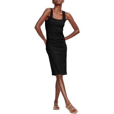 Michael Stars Sonya Square Neck Shirred Dress, Black